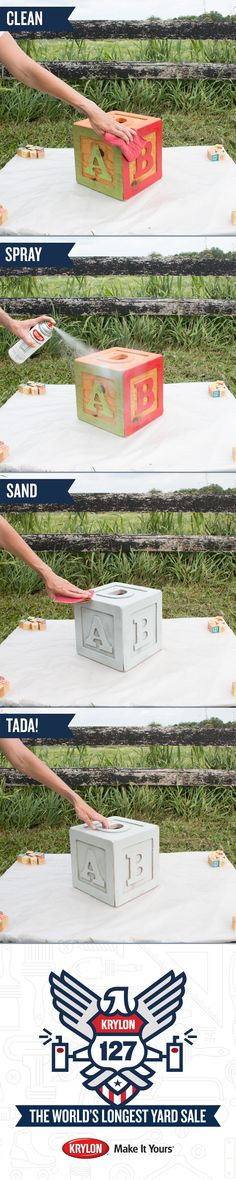 Looking for nursery décor? Find out how to make your own using an ABC Block and Krylon Chalky Finish Misty Gray. 1) Clean the block 2) Shake the spray can 3) Paint the block 4) Sand the surface to give it a vintage look. Check out all the objects we transformed at the #Krylon127YardSale, first Pinterest Yard Sale. Buy your favorites! All proceeds will be donated to Charity Wings, an arts education non-profit organization.