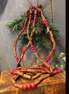 Cinnamon Stix Garland Scented 9 With Red Beads Homemade Christmas OrnamentsDiy