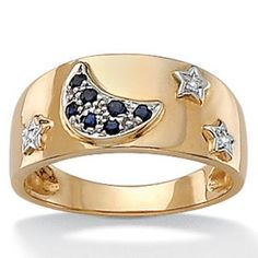 Palm Beach Jewelry Blue Sapphire 10k Moon and Star Ring