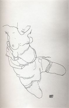 Semi-Dressed Model #Egon Schiele