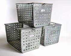vintage metal locker baskets.