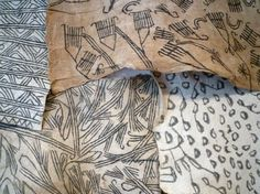 The textiles show at Raven Row included this display of Mbuti bark cloth from the Congo. Here are some details - Men prepare the . African Art Projects, Ceramic Fiber, African Textiles, Outsider Art, Mark Making, Mixed Media Collage, Bark Cloth, Texture Art, Textures Patterns