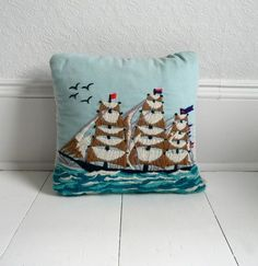 Vintage Nautical Ship Pillow by The Vintage Cabin