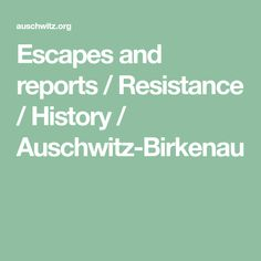 Escapes and reports / Resistance / History / Auschwitz-Birkenau History, Reading, Historia, Reading Books