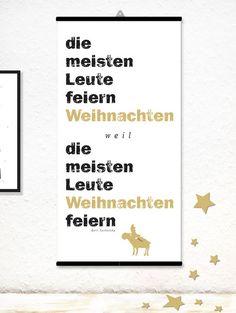Drucke auf Leinwand - Print Typo Leinwand Weihnachten Tucholsky Elch - ein Designerstück von feinepapeterie bei DaWanda