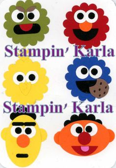 Paper Punch Art - Sesame Street by StampinKarlaG - Cards and Paper Crafts at Splitcoaststampers Paper Punch Art, Punch Art Cards, Kids Birthday Cards, Handmade Birthday Cards, Handmade Cards, Birthday Wishes, Sesame Street Crafts, Shower Bebe, Circle Punch