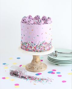 The perfect funfetti cake recipe from scratch, including the best rainbow sprinkles to use! It's the perfect cake to satisfy people of all ages. Funfetti Kuchen, Funfetti Cake, Mini Cakes, Cupcake Cakes, Cake Recipes From Scratch, Angel Cake, Apple Smoothies, Cake Photography, Salty Cake