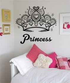Princess Crown Girl Daughter Design Decal Sticker Wall Vinyl Decor Art