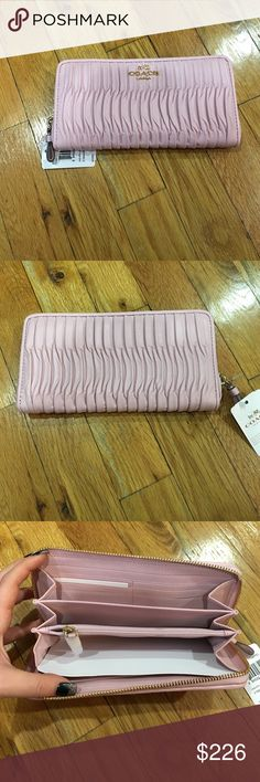 """NWT Coach Gathered Accordion Zip around Wallet Leather Credit card and multifunction pockets and zip pocket in the middle 8"""" (L) x 4"""" (H) x 1"""" (W) Zip around Gold tone hardware soft/pale pink Coach Bags Wallets"""