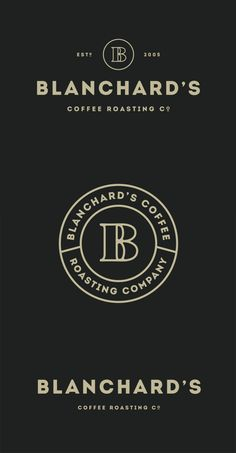 Blanchard's Coffee Roasting Company redesign by Skirven & Croft. Via BrandNew. This identity creates a homely feel with the circles and more subdued color that could reflect the coffee beans. Café Branding, Coffee Shop Branding, Coffee Shop Logo, Branding Design, Vintage Branding, Dessert Logo, Logo Inspiration, Creative Inspiration, Minimal Logo