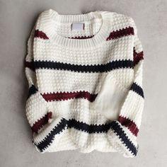 chunky oversized stripe knit boyfriend sweater in ivory