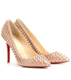 5 pairs of shoes, dressy heels : nude pointy toe with an unexpected twist, christian louboutin pigalle studded