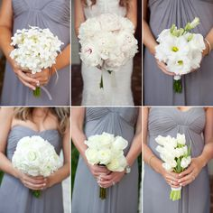 bouquets, in white.