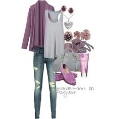 GRAY AND PURPLE TOMS OUTFIT = Untitled #201, created by mariah-karm on Polyvore