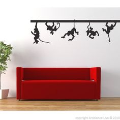 Swinging Monkeys Sticker  These beautiful swinging monkeys add color and life to your area of choice. Add these monkeys stickers to your wall and enjoy their life - swinging monkeys are only one of our many animal wall stickers.  #stickers #decals #wall