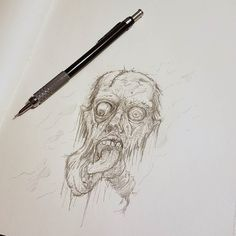 Some ghoulish before I head to bed!  #Art #Horror #Face #Scary #Dead #Zombie #Monster #Disturbing #Artist #Drawing #Illustration #DailyArt #InstaDraw #InstaArt #InstaArtist #InstaGood #WorldofArtists #RochesterArtist #Pencil #Sketch #Doodle #Practice