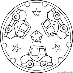 Mandala template with three cars