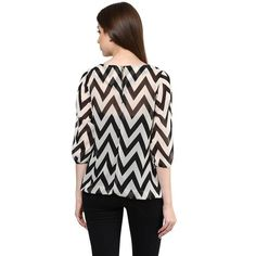 LadyIndia.com # New Fashion Trend, Black Color Pure Crepe Straight Elegant Casual Zig Zag Pattern Top, Casual Wear, Summer Wear, College Wear, New Fashion Trend, https://ladyindia.com/collections/western-wear/products/black-color-pure-crepe-straight-elegant-casual-zig-zag-patterntop?variant=32473479757
