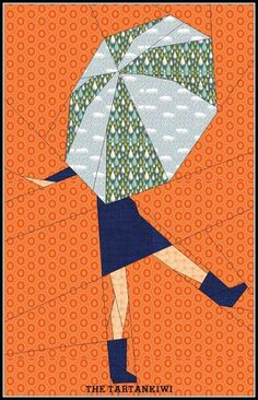 (7) Name: 'Quilting : Singing in the Rain- Paper Pieced Block