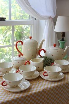 We had this tea set when I was young! Love the red polka dot! White Cottage, Cottage Style, Tea Art, My Cup Of Tea, Chocolate Pots, A Table, Tea Time, Polka Dots, Red Dots