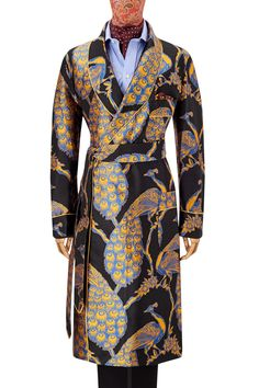 The Russian Peacock design was exclusively developed for New & Lingwood from an archive of vintage Russian prints. The sumptuous details of the design are perfectly captured in the rich silk colours. Handmade in English woven silk satin, this gow Imperial Design, Smoking Jacket, Peacock Design, Casual Elegance, Vintage Men, Lounge Wear, Dressing, Dresses For Work, Menswear