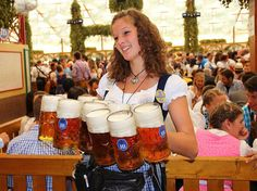 Oktoberfest (Germany). 'Social barriers evaporate, strangers  become friends and everybody sings  too loudly, drinks in excess and has way too  much fun at the world's biggest beer bash  in Munich. The event lures a global  mob of hedonists, but there's a quieter,  folksier side, with less raucous beer tents  and time-honoured traditions taking visitors  back to its early 19th-century beginnings.' http://www.lonelyplanet.com/germany/munich