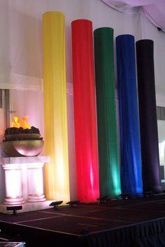 Colored spandex columns olympics theme party, olymp theme, olymp parti, theme parties, decorating ideas, theme idea, olymp idea, balloon columns, parti idea