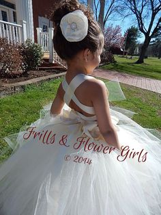 Ivory Corset Dress Fully LINED skirt Ivory Flower Girl Tutu Dress Lace Halter Tutu Dress - Sizes 12 Mo up to Girls Size 8 - Coiffure 03 Ivory Flower Girl Dresses, Flower Girl Tutu, Lace Dress, Flower Girl Hairstyles, Loose Hairstyles, Updo, Handmade Dresses, Corset, Stretch Lace