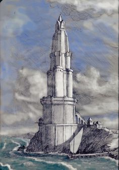 Upon the cape west of Eglarest Finrod raised the tower of Barad Nimras to watch the western sea, though needlessly, as it proved; for at no time ever did Morgoth essay to build ships or to make war by sea. ~ The Silmarillion, Chapter 14 (Barad Nimras by LowSyet, deviantART)