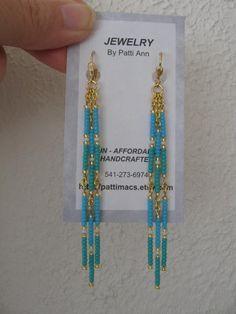 Seed Bead Dangle Earrings Turquoise/Aqua by pattimacs on Etsy