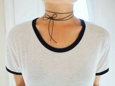 **ZOOM for better detail *Water safe, wont tarnish Minimalism is the new sexy. Ultra thin black authentic leather wrap necklace with Sterling