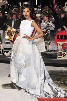 Kerry Washington wore a pale grey printed Giles dress with Christian Louboutin shoes and a Solange Azugury-Partridge ring to attend the London premiere of Django Unchained.