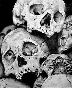 lynsey hayton, pencil on paper #art #skulls