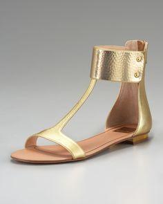 Dolce Vita Bagley Ankle-wrap Flat Sandal in Gold