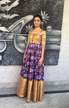 17 Ikkat Gowns And Lehengas We Recently Fell In Love With Long Gown Dress, The Dress, Indian Attire, Indian Outfits, Indian Wear, Ikkat Dresses, Long Dress Design, Frock For Women, Indian Gowns Dresses