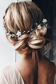 Wedding hair | braids | beautiful | floral | baby's breath | milk maid braids | bride | bridesmaid