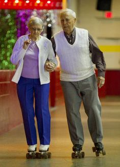 SO CUTE..... Joyce, 89, and Arthur George, 90, still enjoy their life-long passion of roller skating.  The couple teach rollerskating  at Scooters in Mississauga. - BERNARD WEIL/Toronto Star