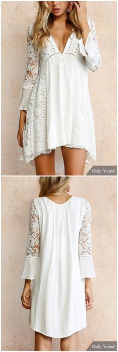White Lace Details V Neck Long Sleeves Mini Dress US$19.19