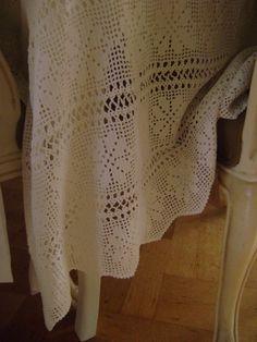 Vintage Gehaakt wit tafelkleed of sprei