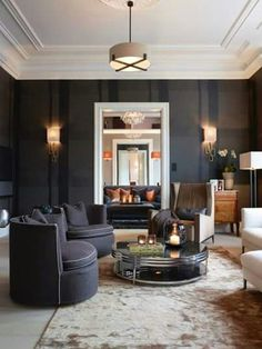 Inspiring Sitting Room with Black Walls