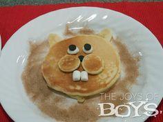 Groundhog Day Pancakes from thejoysofboys.com #pancakes #groundhogday #funfood