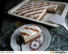 Caffé řezy Piškot: 4 žloutky, 150 g cukru, 5 lžic horké vody, 100 g polohrubé mouky, 1 prášek do pečiva, 1 lžíce kakaa, 1 lžíce mleté kávy, sníh ze 4 bílků. Na plech 32 x 22 cm a péct 20 minut na 160 stupňů. Krém: uvařený puding z 1/2 l mléka, 2x karamelového pud. prášku a 1 lžíce instantní kávy(sypké) nechat vychladnout a poté vyšlehat s 3/4 másla a 4 lžícemi cukru.  Navrch 2 zakysané smetany oslazené dle chuti a kakaem posypat. Hotové vychladit v lednici.