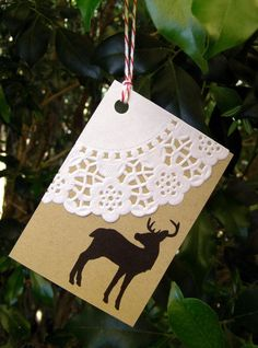 Love this idea of doily and silhouette stamp gift tags. Christmas Gift Wrapping, Christmas Tag, All Things Christmas, Doilies Crafts, Paper Doilies, Xmas Crafts, Paper Crafts, Card Tags, Homemade Cards