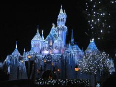 Disneyland, CA  Sleeping Beauty's castle during Christmas