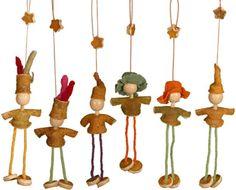 Orange Peel dolls - hanging Christmas Ornaments for your Christmas tree.