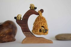 Bees With Hive Wooden Toy Playset - Nature Table - Waldorf Animal