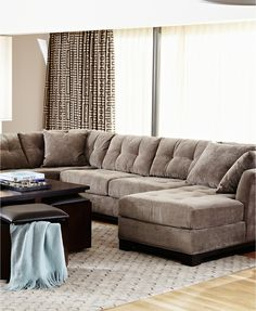 Elliot Fabric Microfiber 3 Piece Chaise Sectional Sofa | Macys.com