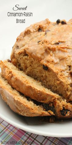 Sweet Cinnamon Raisin Quick Bread - this delicious bread doesn't require any yeast or time to rise!  Butter With a Side of Bread #recipe #bread