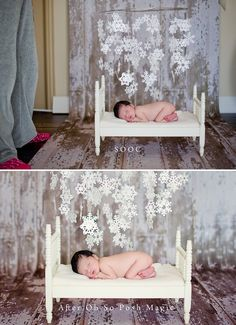 baby with snowflakes