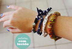 DIY: pulseiras com tecido | Bárbara Kohls: The Cherry Tale